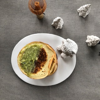 Tea spread and matcha pancakes
